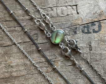 Sterling necklace separator detangler 2 necklace sterling silver separator Paua Abalone shell in sterling silver