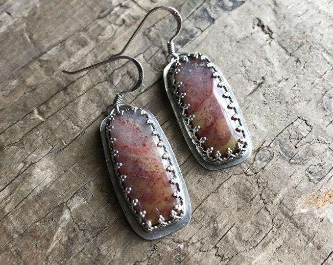 Earrings Feather Ridge Plume Agate Gemstone Earrings set in sterling silver