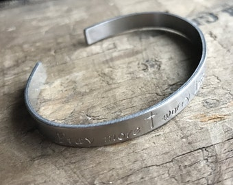 Pray More Bracelet Custom cuff Stainless Steel Faith bracelet Prayer Warrior Pray More Worry Less Cuff