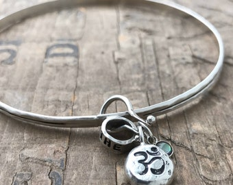 Om Bracelet Recycled Silver Bangle Sterling silver charm amulet Yoga Breathe Bracelet