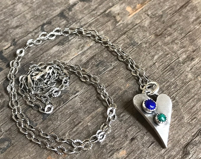 Reversible imperfect heart necklace sterling silver with gemstones American Turquoise Malachite Lapis Lazuli love