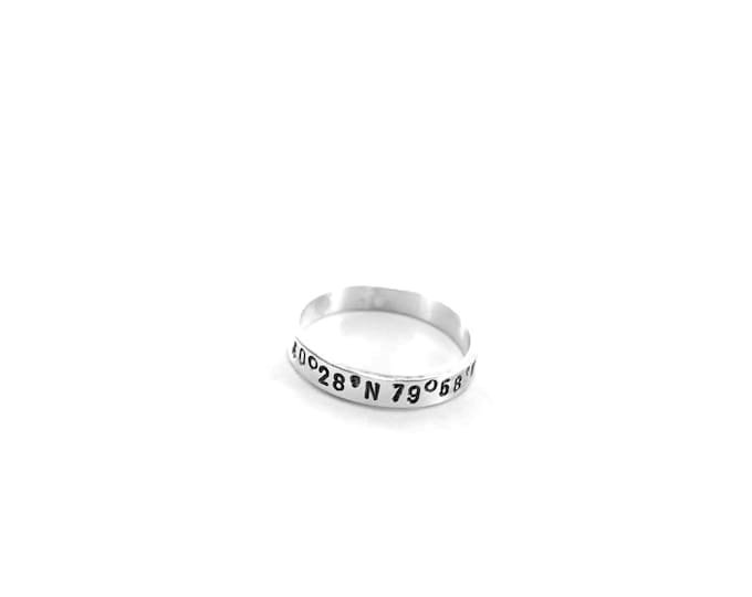 Personalized Ring Coordinates Sterling Silver Ring Personalized Stacking Coordinates Ring Longitude Latitude Custom GPS Coordinates