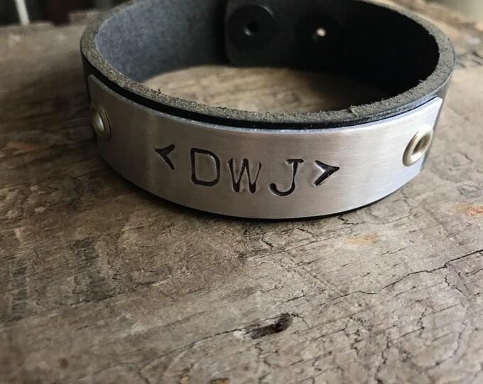 Mens Customized Leather Bracelet Custom Bracelet Men's Women's Leather Bracelet Customized