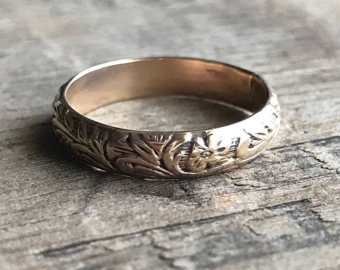 Gold Band Ring Solid 14K Gold Filled Floral Band