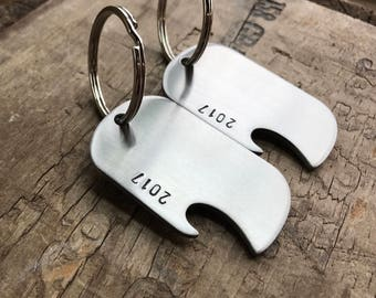 Set of 2 Keychains Bottle Opener Keychains Personalized Stainless Steel Beer Bottle Openers