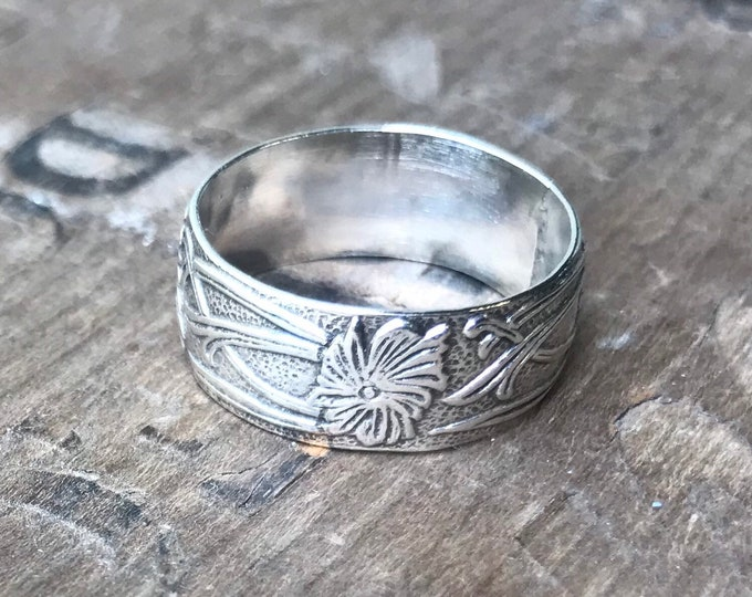 Sterling floral wide ring band flower ring silver ring band handmade