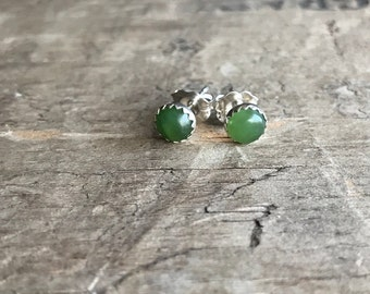 Green Gemstone Stud Earrings || Sterling Studs || Nephrite green Earrings Sterling Silver