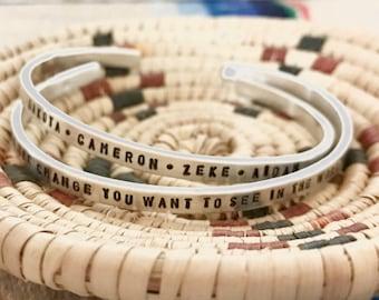 Custom Mom Grandma silver bracelet- Stack cuff bracelet - You design it! Personalized stacking cuffs for mom and grandma
