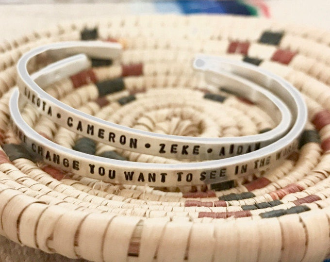 Custom Mom Grandma silver bracelet- Stack cuff bracelet - You design it! Personalized stacking cuffs for mom and grandma