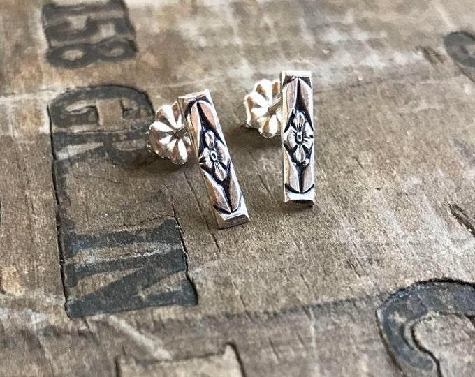Silver Earrings forget me not flower Earrings Sterling Silver Stud Earring Handmade Sterling silver studs