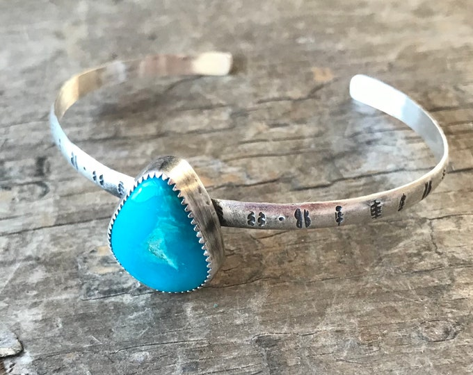 Arizona Turquoise Cuff sterling silver thin cuff hand stamped