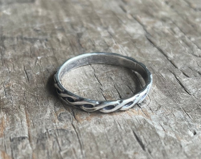 Mens Celtic Ring Wedding band    Rustic Solid Sterling Silver Ring Band silver Celtic knot