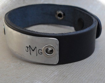 Mens Personalized Bracelet Gift Leather Bracelet Personalized with His Initials or Monogram on Aluminum & Leather Bracelet