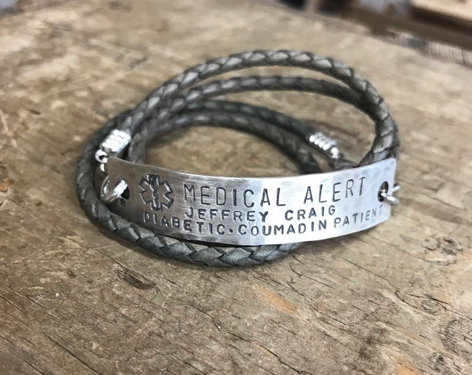 Men's Medical Alert Sterling silver Medical bracelet Jewelry Medical Alert leather bracelet Diabetic Alert Custom Medical Allergy Alert