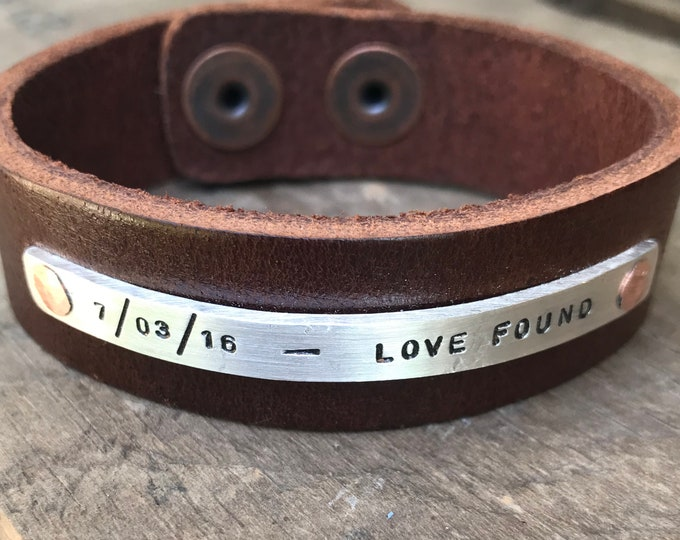 Personalized Silver Leather Bracelet Sterling Silver Personalized Bracelet Solid Sterling Rustic Silver & leather