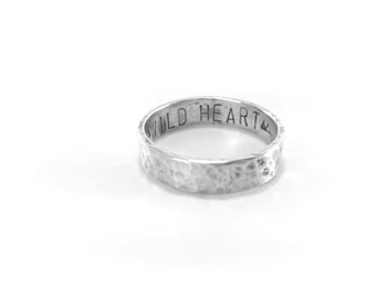 Personalized Mens Ring Sterling Silver Rustic Band Solid Sterling Silver Rustic Ring Customize