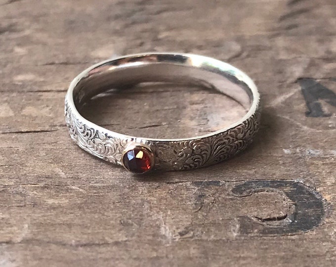 Garnet Ring set in gold sterling silver band rose cut tiny garnet birthstone ring