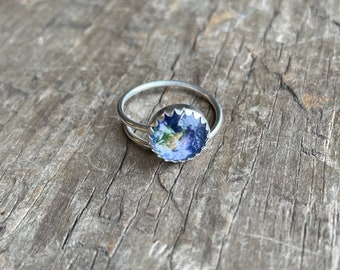 Earth Ring adjustable sterling silver with Earth solid sterling silver adjustable size ring 10mm Earth planet