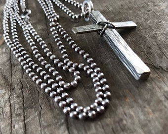 Rustic Cross Sterling Silver 30 inch long necklace handmade one of a kind cross
