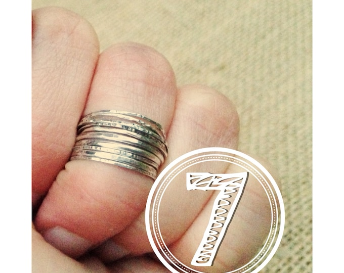 7 Stacking Ring Set Silver stacking rings set of 7 midi rings sterling silver knuckle rings Rustic Ring Set