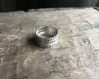 Mommy Rings Stacking Personalized Mom Ring set Womens Sterling Silver Childrens Names Ring Stacking Skinny Rings Kids Names