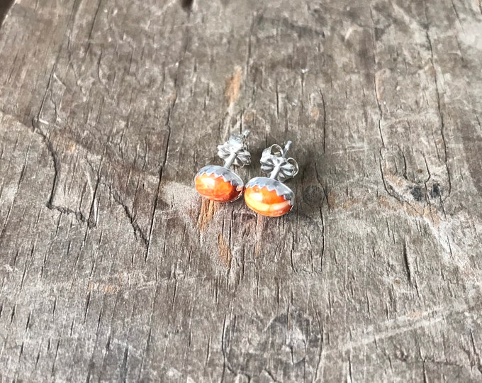 Oval Orange Spiny oyster Earrings Sterling Silver Gemstone Stud Earrings || Sterling spiny oyster Studs || Earrings Sterling Silver studs