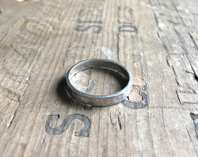 Mens Ring Wedding band    Rustic Solid Sterling Silver Ring Band