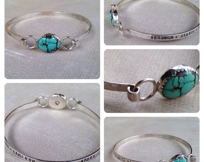 Personalized Mom Bracelet Grandma Bracelet Mothers Day Sterling Silver Turquoise Bangle with Kids Names mom jewelry