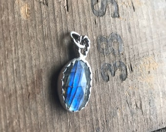 Oops sale 75 percent off labradorite pendant cracked stone set in sterling silver