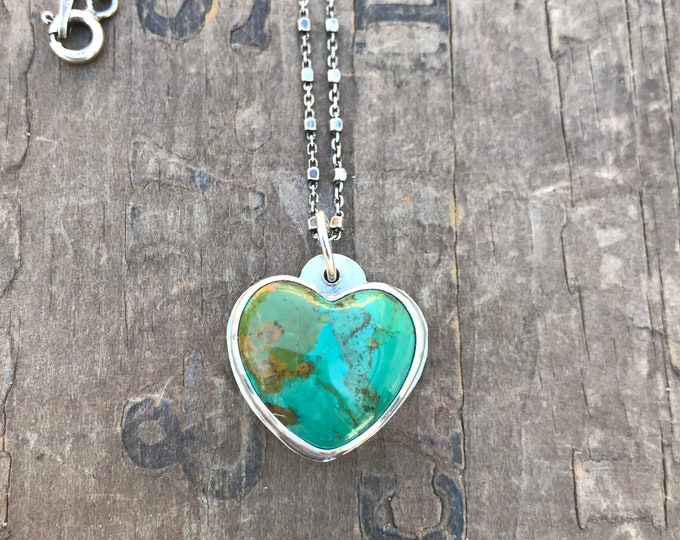 Turquoise Heart Silver Necklace US Turquoise American Mined Gemstone on sterling silver chain