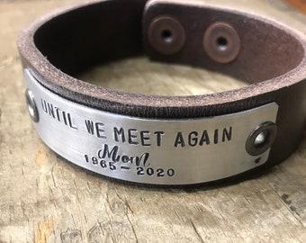 Memorial Bracelet Leather Custom Memorial Jewelry Personalized Bracelet In Memory Tribute