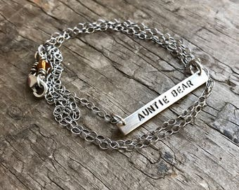 Personalized bar Necklace Sterling silver necklace