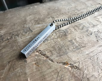 Mens Personalized Necklace Stainless Steel Bar Necklace 4 Sided Dad Hipster Daddy Necklace bar dad
