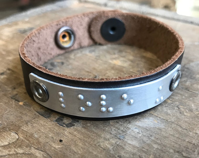 Personalized Braille Bracelet Personalized Friendship Bracelet Unisex Leather 1/2 inch wide brown leather Bracelet Custom Braille Message