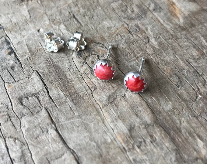 Red Spiny oyster Earrings Sterling Silver Gemstone Stud Earrings || Sterling spiny oyster Studs || Earrings Sterling Silver studs