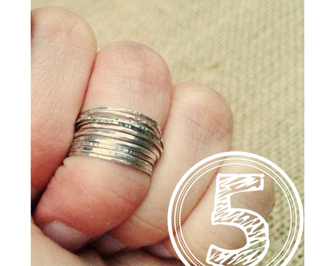 5 Silver midi stacking rings set of midi rings sterling silver knuckle rings Rustic Ring Set