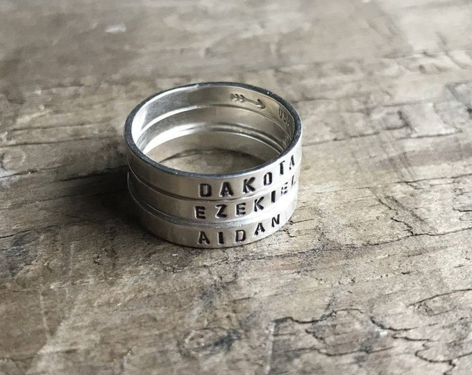 Mom Rings Set of FOUR 4 Mom Rings Personalized Mom Rings Womens Sterling Silver Childrens Names Ring Stacking Skinny Rings Kids Names