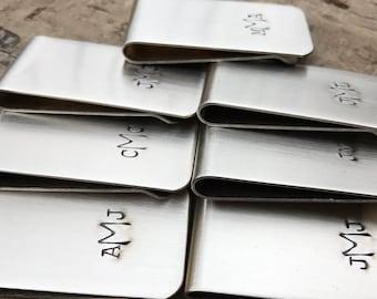17 Groomsmen Gifts Money Clips Custom Initials Men's Moneyclips SET of 17 Wedding Groomsmen Gifts for Groom