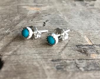 U.S. Turquoise Earrings Sterling Silver Gemstone Stud Earrings || Sterling Turquoise Studs || Earrings Sterling Silver Small Earrings