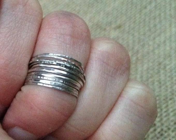 6 midi rings Silver stacking rings set of 6 midi rings sterling silver knuckle rings Rustic Ring Set
