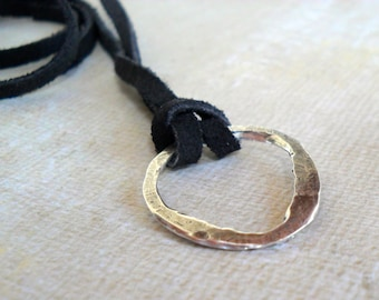 Sterling Silver Men's Necklace Black Suede Necklace Rustic Mens Unisex Silver Karma Necklace Imperfect circle