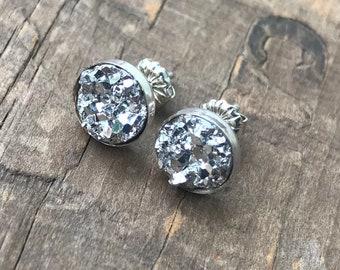 Silver Druzy Earrings Silver Stud Earrings Sterling Silver Faux Druzy Stud Earrings Sparkly Druzy Sterling Silver studs