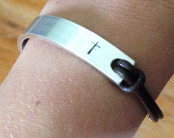 You Customize it Bracelet Leather Sterling silver Rustic Silver Bracelet Personalized Leather Bracelet Leather Sterling Silver bracelet