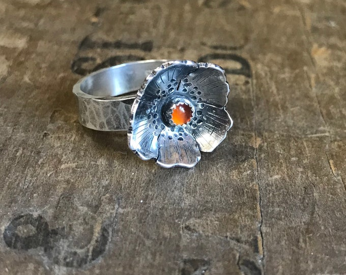 Flower pinky ring size 6 sterling silver OOAK statement ring floral boho festival ring