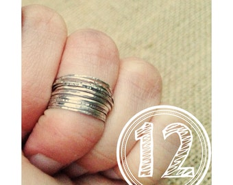 12 Sterling Silver stack rings set of 12 midi rings sterling silver knuckle rings Rustic Ring Set