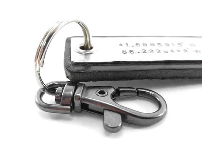 Men's Leather Keychain Personalized GPS Coordinates Longitude Latitude Hipster Personalized Gift