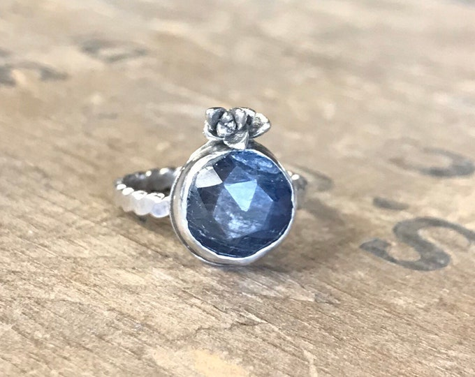 Raw Sapphire and Silver Succulent Ring size 5 solid sterling silver with blue natural sapphire rose cut