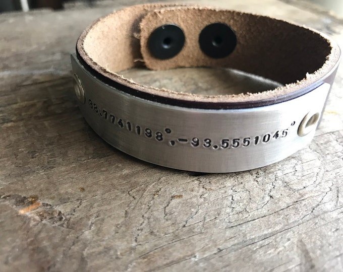 Personalized Mens Bracelet Personalized Men's Leather Bracelet Longitude Latitude Custom GPS Coordinates Bracelet