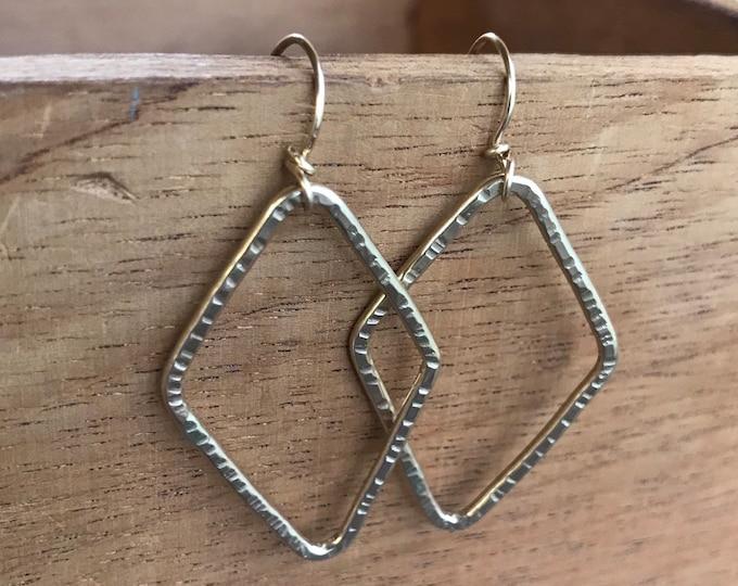 Gold dangle earrings gold filled diamond rustic hoop earrings