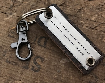 Morse Code Keychain Custom Personalized Leather key fob with your Secret Message or Braille